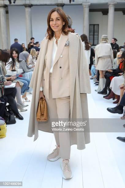 Cristina Parodi wearing Max Mara attends the Max Mara show during Milan Fashion Week Fall/Winter 2020/2021 on February 20 2020 in Milan Italy