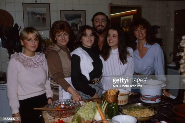 Cristina Pavarotti Adua Veroni Lorenza Pavarotti Luciano Pavarotti Giuliana Pavarotti Jacqueline Bisset appearing on Walt Disney Television via Getty...