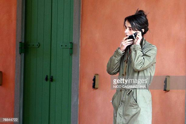 Cristina Pavarotti talks on phone in the house of her father Luciano in Modena 06 September 2007 Opera giant Luciano Pavarotti the Italian tenor died...
