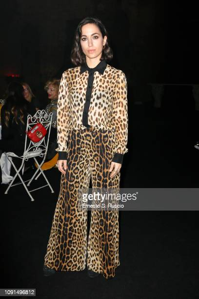 Cristina Pelliccia attends Moschino Menswear Collection Autumn/Winter 2019/20 at Cinecitta on January 08 2019 in Rome Italy