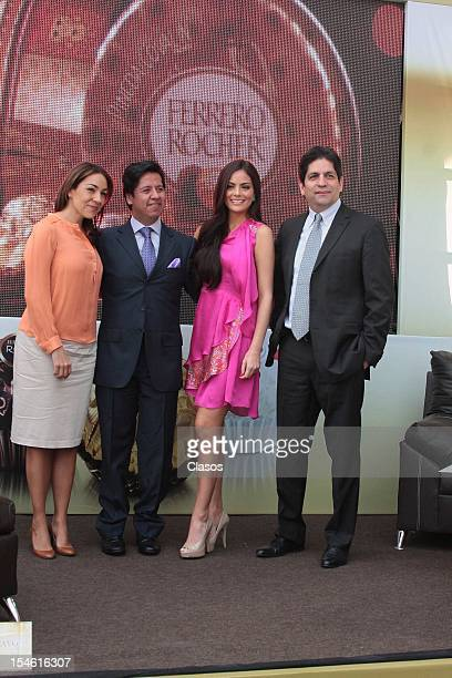 Cristina Pineda Jose Bravo Ximena Navarrete and Luis Carlos Romo pose for a photo during the press conference of the installation of a Ferrero Rocher...