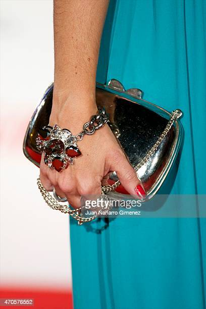 Cristina Plazas purse detail attends the 'Requisitos Para Ser Una Persona Normal' premiere during the 18th Malaga Spanish Film Festival at Cervantes...