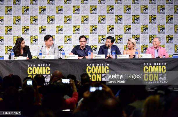 Cristina Rodlo Alexander Woo Max Borenstein Derek Mio Kiki Sukezane and George Takei speak at The Terror Infamy Panel Comic Con 2019 on July 19 2019...