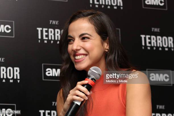 Cristina Rodlo laughs during the presentation of the AMC series 'The Terror Infamy' at Hotel W on August 1 2019 in Mexico City Mexico