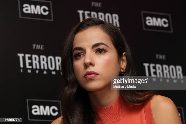 Cristina Rodlo listens to the press questions during the presentation of the AMC series 'The Terror Infamy' at Hotel W on August 1 2019 in Mexico...
