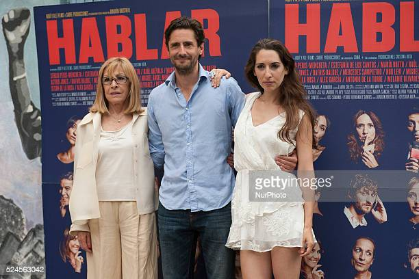 Cristina Rota Juan Diego Botto and Nur Al Levi attend 'Hablar' photocall at Mirador Sala on June 10 2015 in Madrid Spain