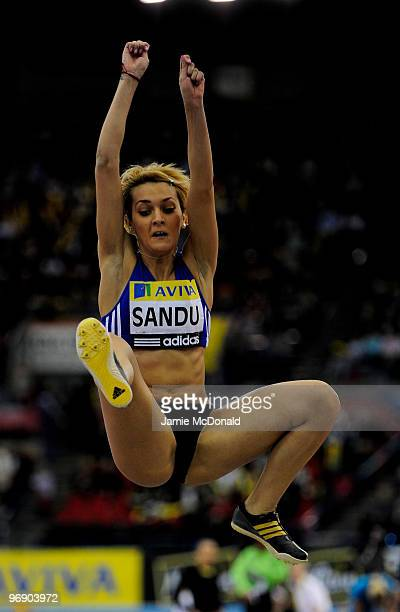 Cristina Sandu of Slovakia jumps during the Women's Long Jump during the Aviva Grand Prix at the National Indoor Arena on February 20 2010 in...