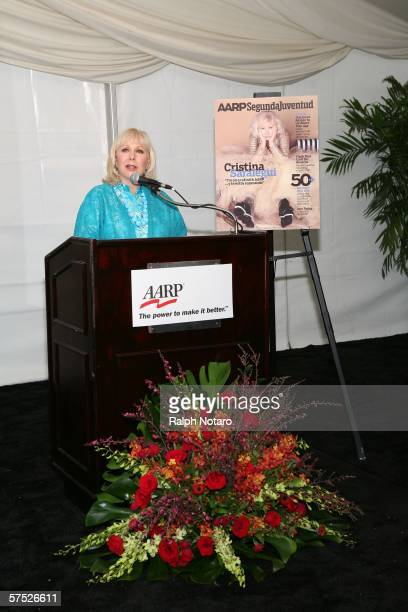 Cristina Saralegui speaks during an AARP marketing campaign launch party at the Ritz Carlton May 3, 2006 in Miami, Florida.