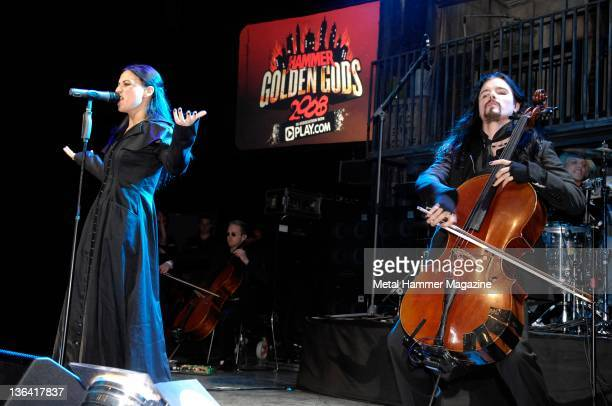 Cristina Scabbia of Lucuna Coil performing with Perttu Kivilaakso of with Finnish band Apocalyptica live on stage at the Metal Hammer Golden God...