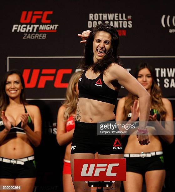 Cristina Stanciu weighs in during the UFC Fight Night weighin at the Arena Zagreb on April 9 2016 in Zagreb Croatia