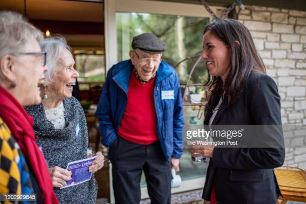 Cristina Tzintzún Ramirez greets supporters at the home of Ana SalasPorras in Austin Texas on Sunday Jan 13 2020 Ramirez who considers herself true...