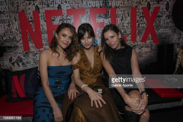 Cristina Umaña Marcela Mar and Angela Vergara pose during Netflix Distrito Salvaje Premiere after party on October 10 2018 in Bogota Colombia