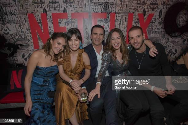Cristina Umaña Marcela Mar Juan Pablo Raba Camila Sodi and Diego Cadavid pose during Netflix Distrito Salvaje Premiere after party on October 10 2018...