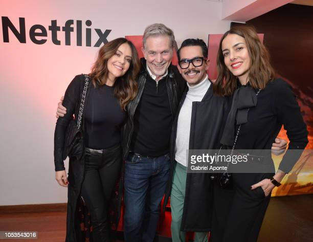Cristina Umaña Netflix CEO Reed Hastings Manolo Caro and Cecilia Suarez pose during Casa Netflix Cocktail Party at Galeria Cero on October 9 2018 in...
