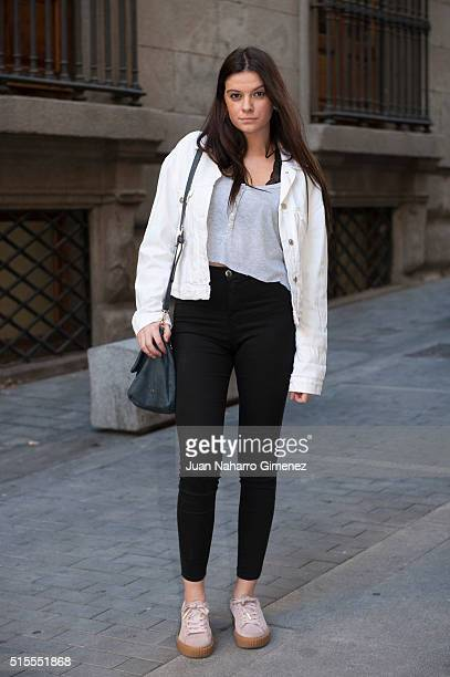 Cristina wears Puma sneakers ZARA trousers and Jacket and HM Tshirt on March 14 2016 in Madrid Spain