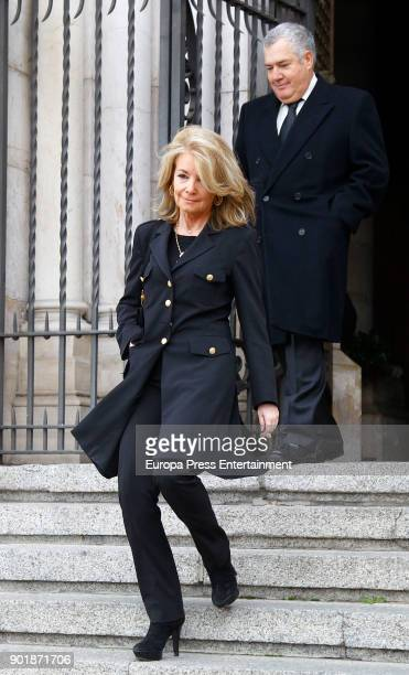 Cristina Yanes and Jose Luis Santos attend the funeral service for Carmen Franco daughter of the dictator Francisco Franco at La Almudena cathedral...