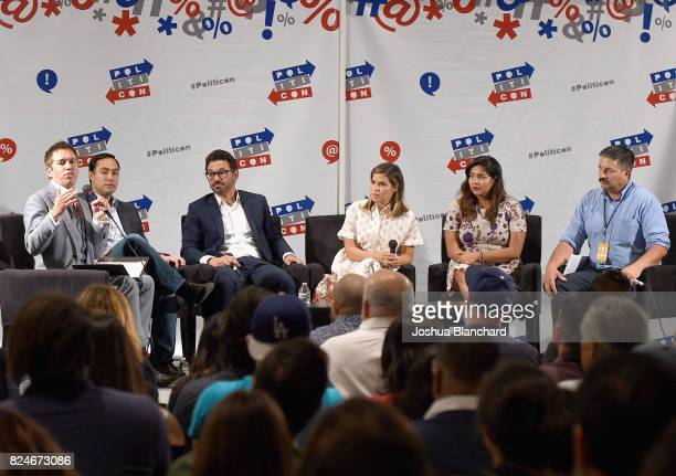 Cristobal Alex Joaquin Castro Al Madrigal America Ferrera Julissa Arce and Randy Bryce at the 'The Power Vote Latinos' Crucial Role in the 2018 and...