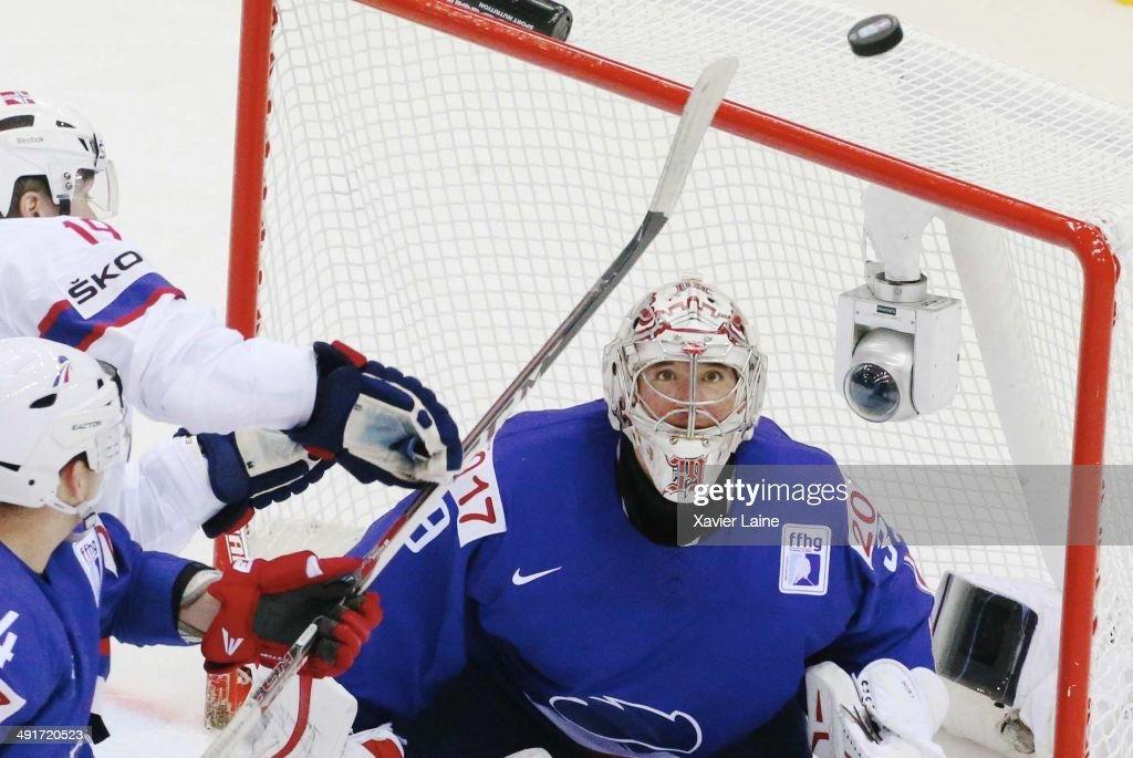 Cristobal Huet of France watch the puck during the 2014 IIHF World Championship between France and Norway at Chizhovka arena on may 17,2014 in Minsk, Belarus.