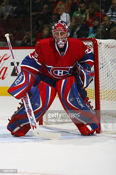 Cristobal Huet of the Montreal Canadiens skates in a pre-season game against the Pittsburgh Penguins on September 17, 2007 at the Bell Centre in...