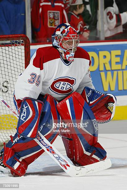 Cristobal Huet of the Montreal Canadiens warms up before the game against the New Jersey Devils at Continental Airlines Arena on February 14 2007 in...