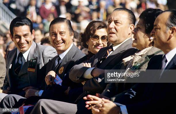 "Cristobal Martinez Bordiu Marquis of Villaverde and his wife Carmen daughter of Francisco Franco and Blas Pinar leader of the farright Party ""Fuerza..."