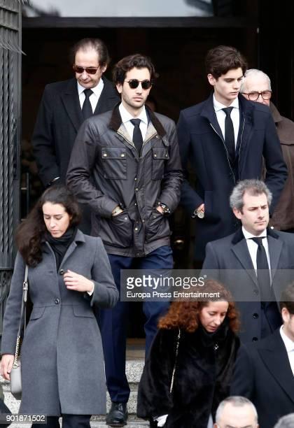 Cristobal Martinez-Bordiu and Daniel Martinez-Bordiu attend the funeral service for Carmen Franco, daughter of the dictator Francisco Franco, at La...