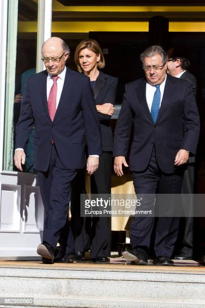 Cristobal Montoro Maria Dolores de Cospedal Juan Ignacio Zoido attend a meeting for the commemoration of the First Expedition of Fernando de...
