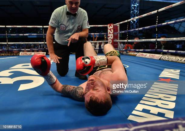 Cristofer Rosales knocks out Paddy Barnes for the WBC flyweight world title at Windsor Park on August 18, 2018 in Belfast, Northern Ireland.