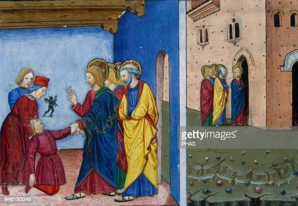 Cristofor de Premis Italian miniaturist Jesus cures a girl on Saturday Codex De Predis Royal Library Turin Italy