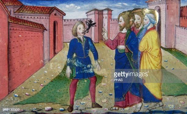 Cristofor de Premis Italian miniaturist Jesus healing a demoniac Codex De Predis Royal Library Turin Italy