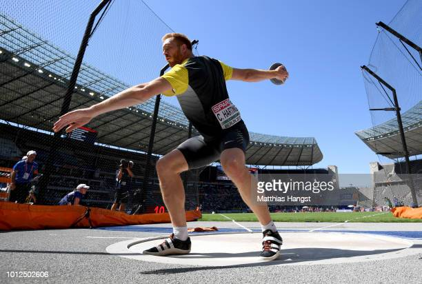 Cristoph Harting of Germany competes in the Men's Discus qualification during day one of the 24th European Athletics Championships at Olympiastadion...