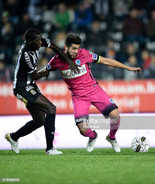 Cristophe Diandy midfielder of Sporting Charleroi and Alejandro Pozuelo midfielder of KRC Genk pictured during Jupiler Pro League match between RCS...