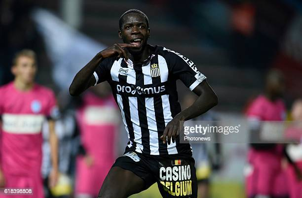 Cristophe Diandy midfielder of Sporting Charleroi celebrates scoring a goal pictured during Jupiler Pro League match between RCS Charleroi and KRC...
