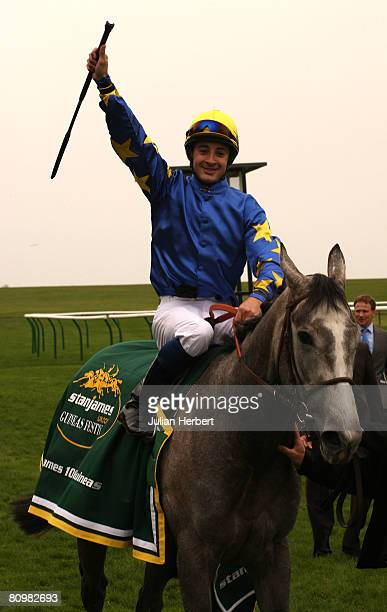 Cristophe Lemaire celebrates after Natagora landed The stanjamesukcom 1000 Guineas Stakes Race run at Newmarket Racecourse on May 4 in Newmarket...