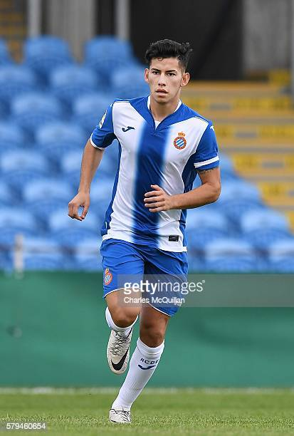 Cristopher Chavez Medina of Espanyol during the third and fourth place play off Super Cup NI game at Ballymena Showgrounds on July 23 2016 in...