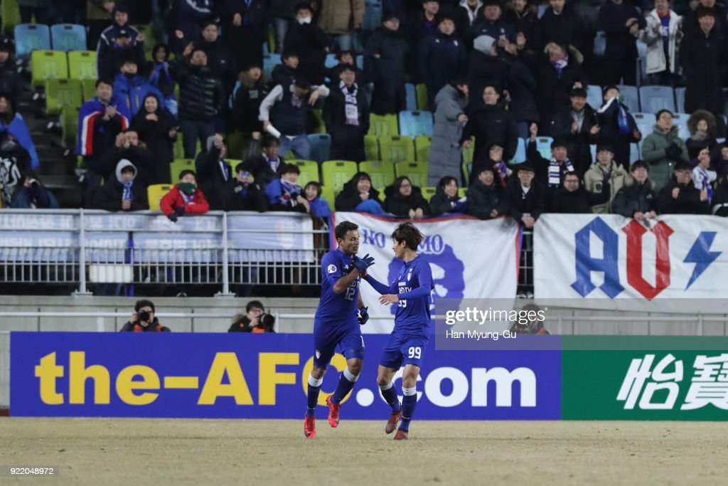 Cristovam (L) of Suwon Samsung Bluewings celebrates scoring his side's first goal with his team mate Jeon Se-jin (R) during the AFC Champions League Group H match between Suwon Samsung Bluewings and Kashima Antlers at Suwon World Cup Stadium on February 21, 2018 in Suwon, South Korea.