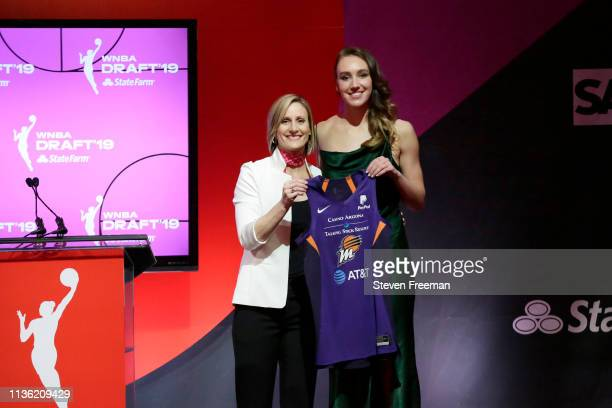 Cristy Hedgpeth poses with Alanna Smith after being drafted eighth overall by the Phoenix Mercury during the 2019 WNBA Draft on April 10 2019 at Nike...