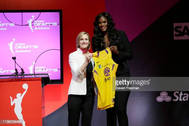 Cristy Hedgpeth poses with Kalani Brown after being drafted seventh overall by the Los Angeles Sparks during the 2019 WNBA Draft on April 10 2019 at...