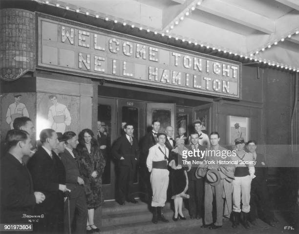 Criterion Theatre Broadway and 44th Street New York New York 1926 Group in front of marquee 'Welcome Tomight Neil Hamilton' [likely a movie event for...
