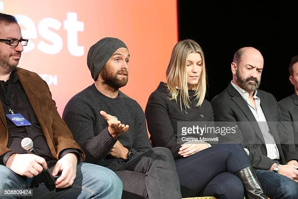 TV critic Alan Sepinwall Actor Antony Starr Actress Ivana Milicevic and Actor Matt Servitto speak at the Banshee event during aTVfest 2016 presented...
