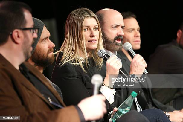 TV critic Alan Sepinwall Actor Antony Starr Actress Ivana Milicevic Actor Matt Servitto and Actor Matthew Rauch speak at the Banshee event during...