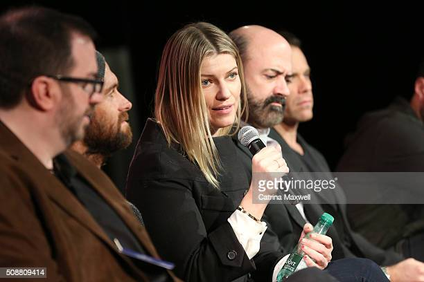 TV critic Alan Sepinwall Actor Antony Starr Actress Ivana Milicevic Actor Matt Servitto and Actor Matthew Rauch speak at the 'Banshee' event during...