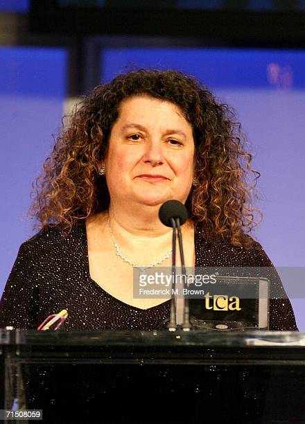 TV critic Joanne Weintraub from the Milwaukee Journal Sentinel presents the Individual Achievement in Drama award onstage during the 2006 Summer TCA...