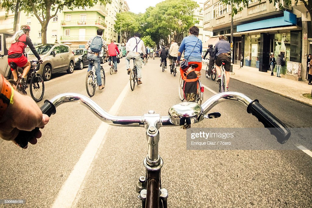 Critical mass cycling event in Lisbon : Stock Photo