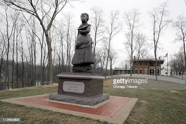 Critics say the statue of Julia Dent Grant the wife of President Ulysses S Grant in Galena Illinois is imposing unshapely and out of proportion