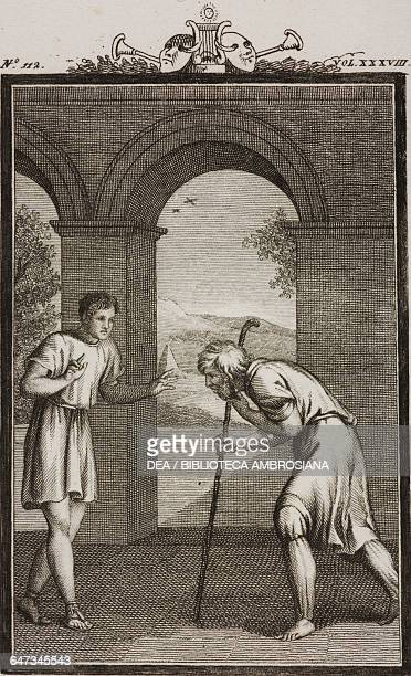 Crito leaning on his stick and Terence engraving by Antonio Viviani from a drawing by G Steneri from Terence Act IV Scene 3 Comedies Volume 38 by...