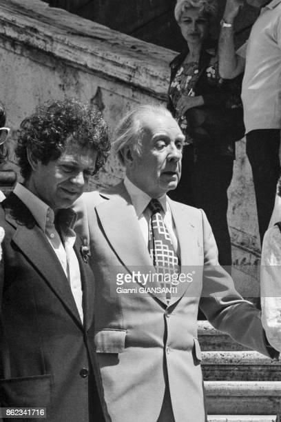 L'écrivain argentin Jorge Luis Borges à Rome en juin 1978 Italie