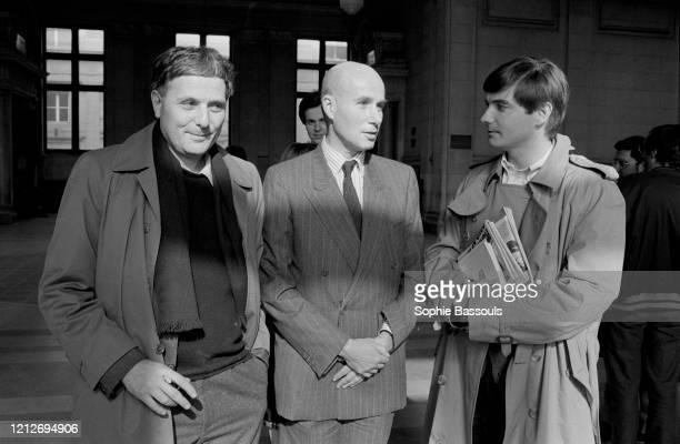 écrivain français Gabriel Matzneff au tribunal de grande instance de Paris avec Philippe Sollers et Eric Neuhoff