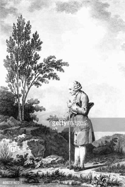 L'écrivain français JeanJacques Rousseau pratiquant l'herboristerie