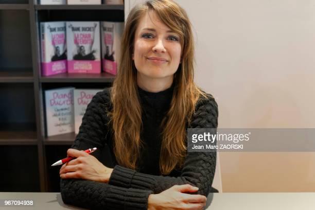 L'écrivain francobelge Diane Ducret lors de 'Livre Paris' le 36e Salon du Livre le 19 mars 2016 Paris France